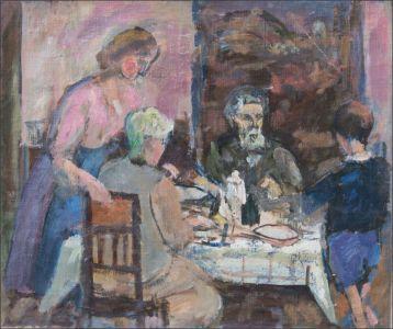 George, Marguerite  Desvallières et Monique, Benoît Isorni