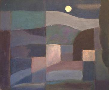 Paysage cubiste avec la lune