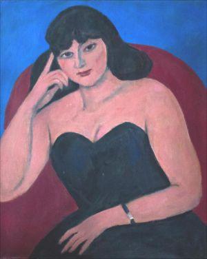 Portrait jeune femme brune fauteuil rouge