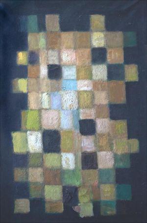 Cubes jaunes sur fond noir