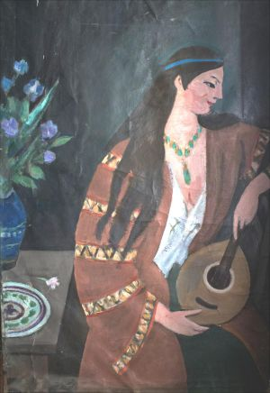 Figure femme à la mandoline