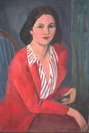 Flore Isorni en rouge et rayé