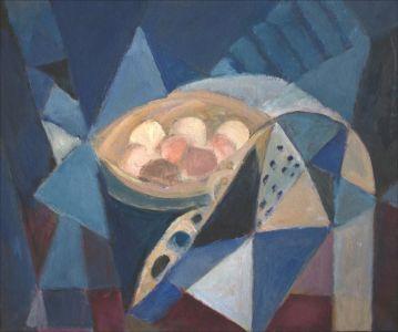 Composition aux oeufs, bleu
