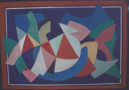 Composition cadre rouge et bleu