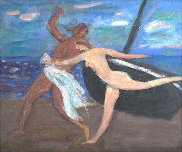 Couple sur la plage bateau noir