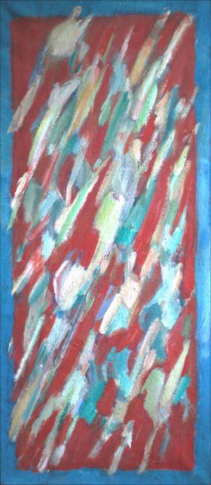 Flammèches sur fond rouge cadre bleu