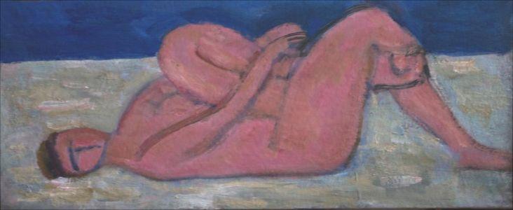 Nu sur plage rose sur fond bleu