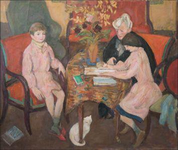 """""""Marguerite Desvallières , Flavie et Théo  Isorniscène de famille au salon"""""""