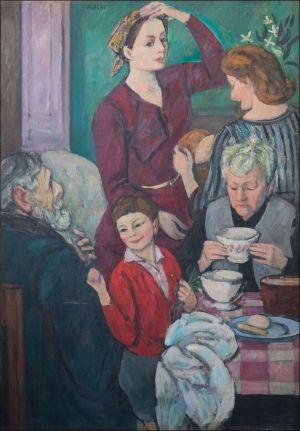 """""""Portrait de famille : George, Marguerite et Marie-MadeleineDesvallières,  Monique et Benoît Isorni"""""""