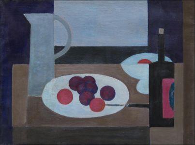 Abstrait : bouteille et fruits
