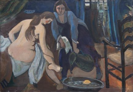 Femme nue au bain de pieds