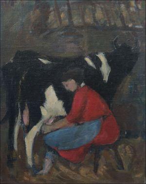 Marie-Madeleine Desvallières à la vache