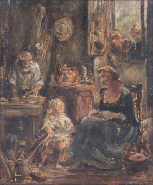 Scène paysanne d'interieur