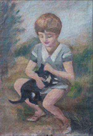 Enfant au chat