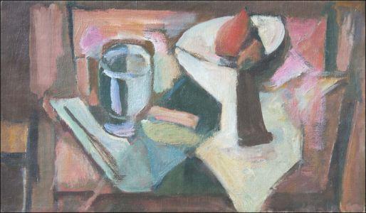 Abstrait livre, coupe et verre