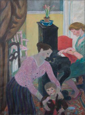 Marie-Madeleine Desvallières , Monique et Théodore Isorni au Piano